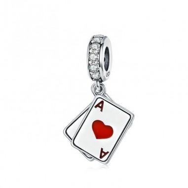 Ace of Hearts and Spades - Talisman argint