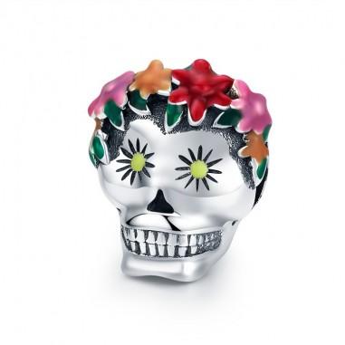 Flower Skull - Talisman argint