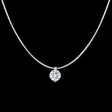 Round Diamond - Colier invizibil cu pandantiv argint