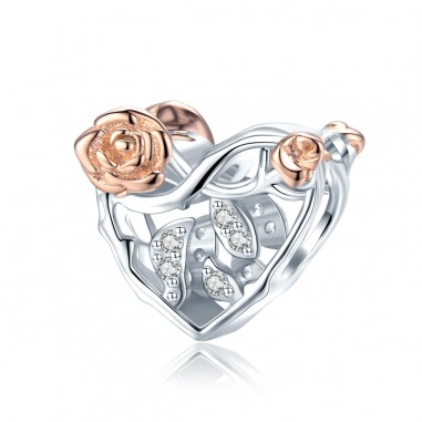 Graceful Rose Heart - Talisman argint