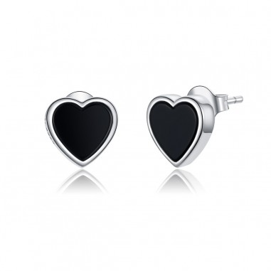 Black Agate Hearts - Cercei argint