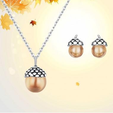 Shining Acorn - Set colier si cercei argint