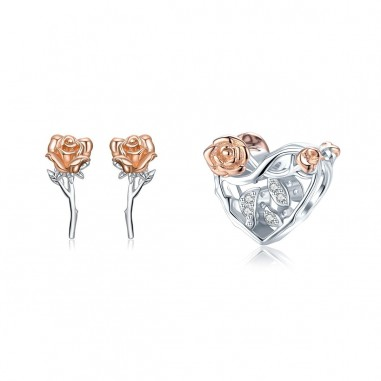 Graceful Rose - Set cercei si talisman argint