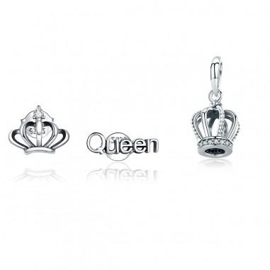 Crown - Set cercei si talisman argint