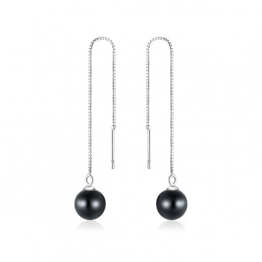Black Agate Pearls - Cercei argint