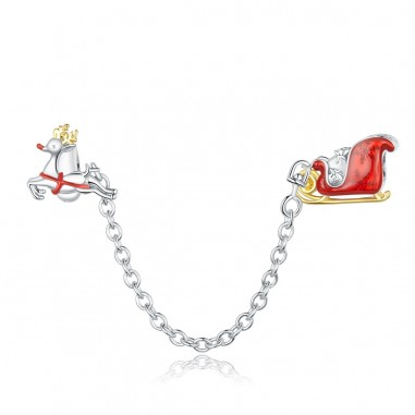 Santa & Rudolf - Lant de siguranta argint