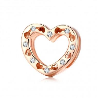 Heart Shape - Talisman argint rose gold Flat