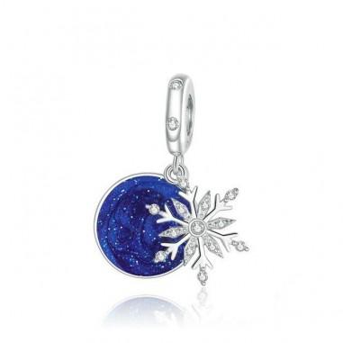 Snowy Night Sky - Talisman argint