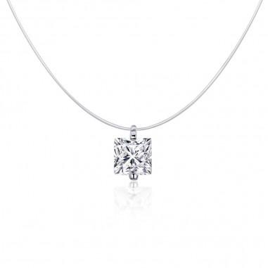 Square Diamond - Colier invizibil cu pandantiv argint
