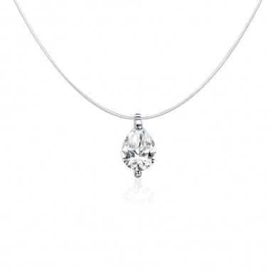 Water Drop Diamond - Colier invizibil cu pandantiv argint