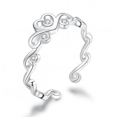 Crowned with Love - Inel argint reglabil