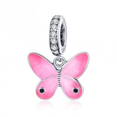 Pink Butterfly - Talisman argint