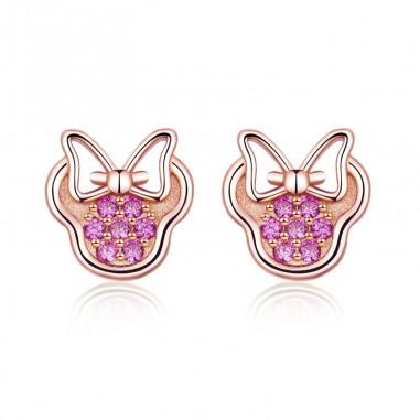 Minnie Mouse - Cercei argint Rose Gold