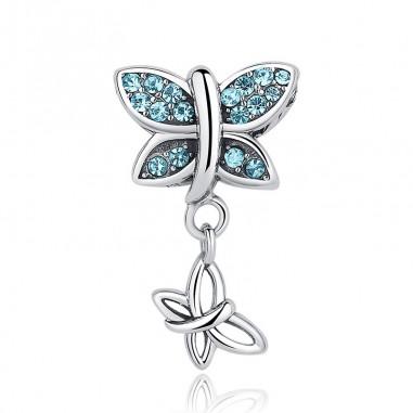 Blue Crystals Butterfly - Talisman argint