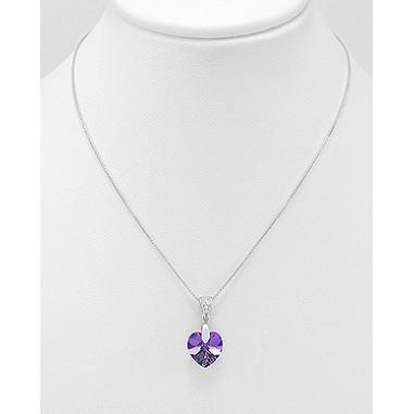 Swarovski Heart (Heliotrope) - Colier argint