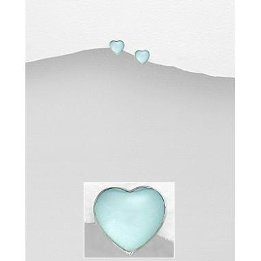 Blue Shell Heart - Cercei argint