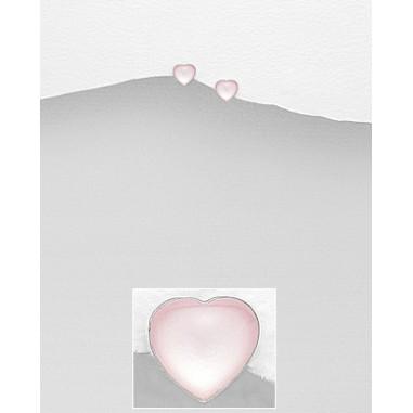 Pink Shell Heart - Cercei argint