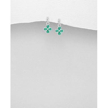 Green Clovers - Cercei argint