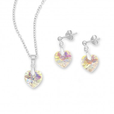 Swarovski Hearts (Aurore Boreale) - Set argint cercei si pandantiv