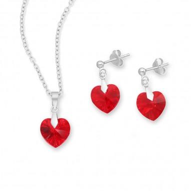Swarovski Hearts (Light Siam) - Set argint cercei si pandantiv