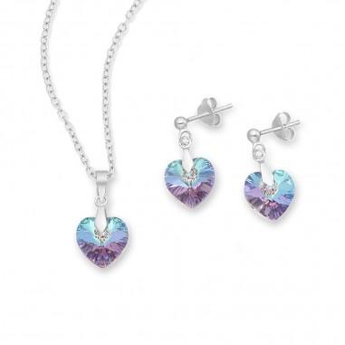 Swarovski Hearts (Vitrail Light) - Set argint cercei si pandantiv