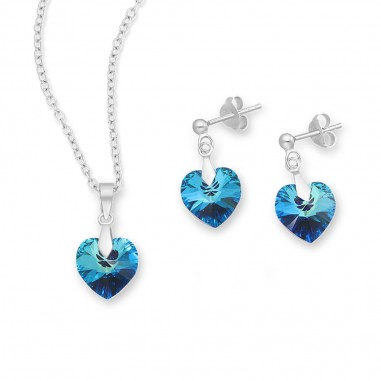 Swarovski Hearts (Bermuda Blue) - Set argint cercei si pandantiv