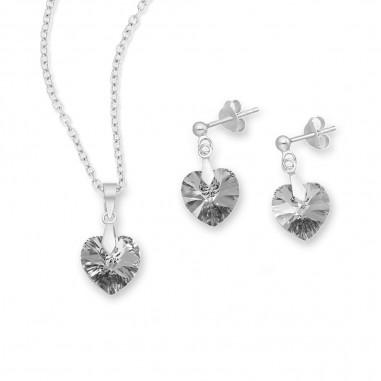 Swarovski Hearts (Silver Night) - Set argint cercei si pandantiv