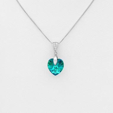 Swarovski Heart (Blue Zircon) - Colier argint