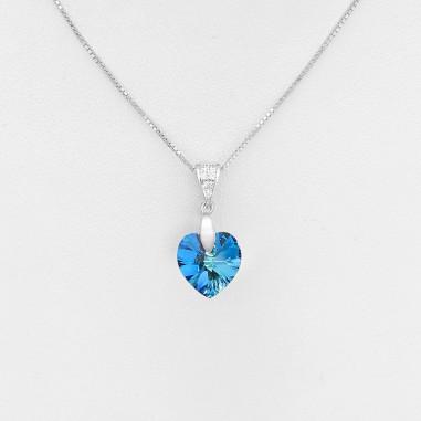 Swarovski Heart (Bermuda Blue) - Colier argint