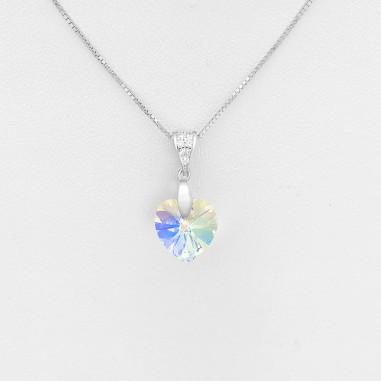 Swarovski Heart (Aurore Boreale) - Colier argint