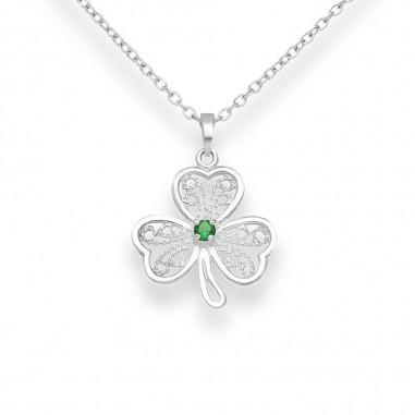 Green Clover - Pandantiv argint