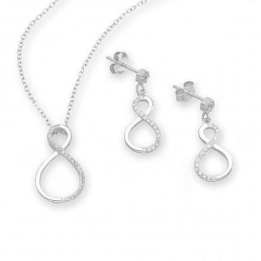 Elegant Inifnity - Set argint cercei si pandantiv