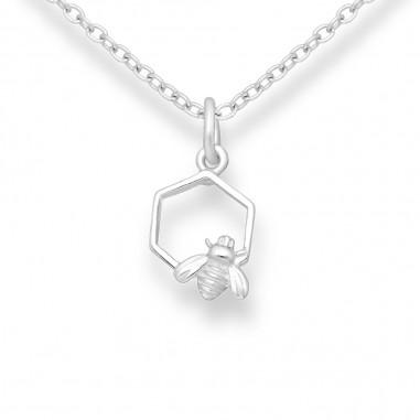 Bee and Honeycomb - Pandantiv argint
