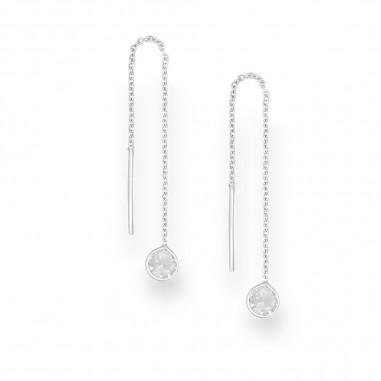 Long Circles (White) - Cercei argint