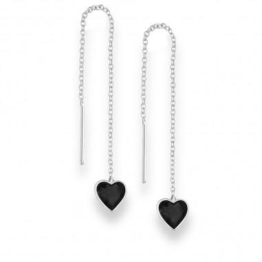 Long Hearts (Black) - Cercei argint