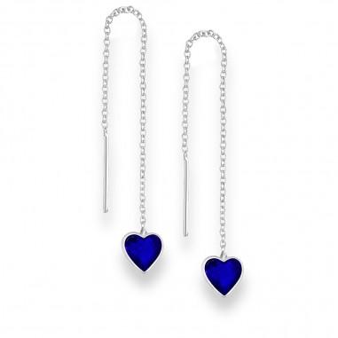 Long Hearts (Blue) - Cercei argint