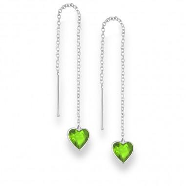 Long Hearts (Green) - Cercei argint