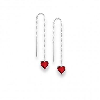Long Hearts (Red) - Cercei argint