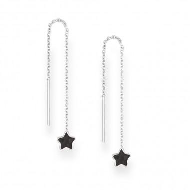 Long Stars (Black) - Cercei argint