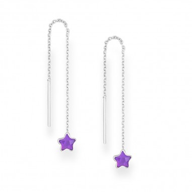 Long Stars (Purple) - Cercei argint