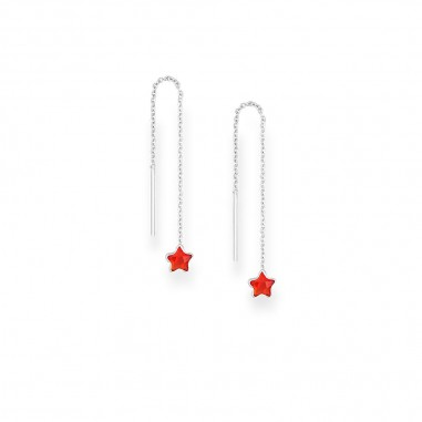 Long Stars (Red) - Cercei argint
