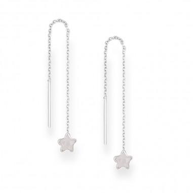 Long Stars (White) - Cercei argint