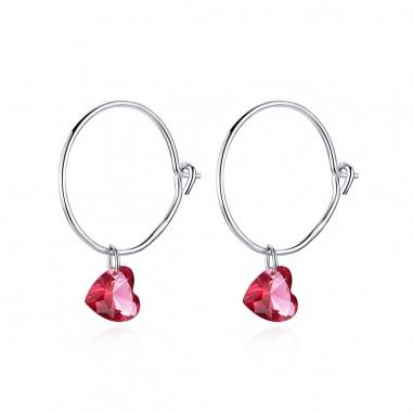 Red Hearts - Cercei argint