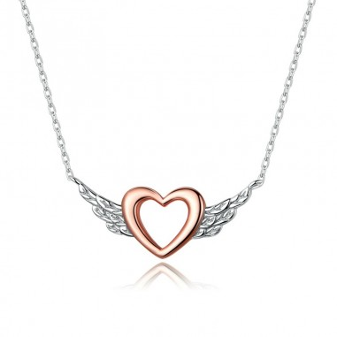 Heart with Wings - Colier argint Rose Gold