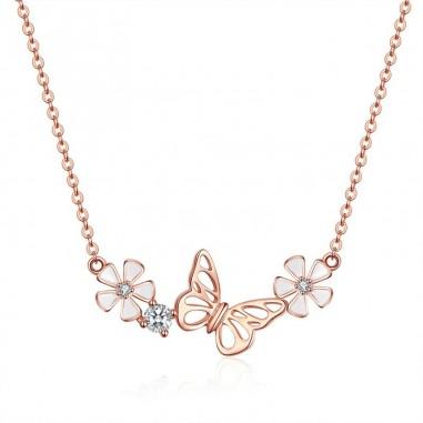 Dancing Butterfly - Colier argint Rose Gold