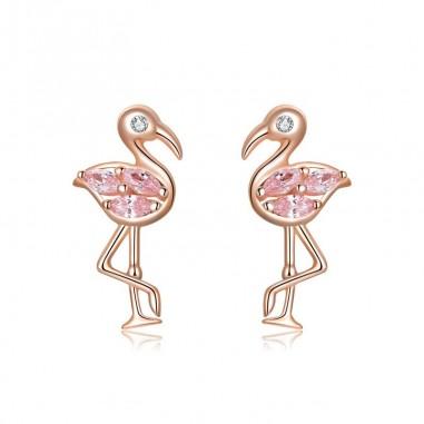 Flamingos - Cercei argint rose gold