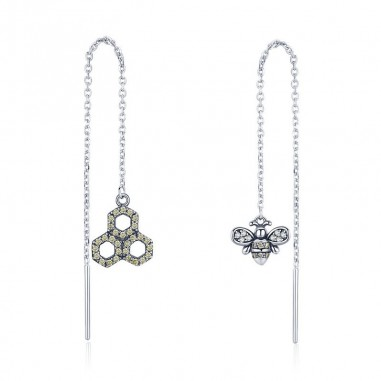Honeycomb - Cercei argint