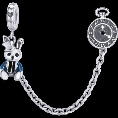 Rabbit and Clock - Lant de siguranta argint