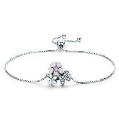 Pink Cherry Flower - Bratara argint
