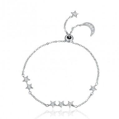 Moon & Stars - Bratara argint